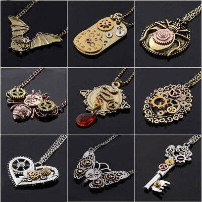 New Steampunk Antiqued Silver Bronze Necklace Pendant Gear Vintage Style
