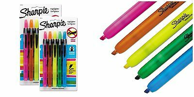 2 Pack Sharpie Retractable Highlighters Chisel Tip 5 Assorted Fluorescent Colors