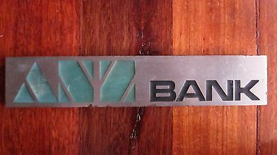 Old ANZ Bank Metal Sign / Nameplate