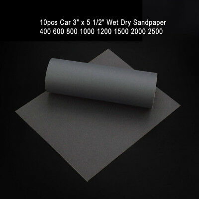 "10pcs Car 3"" x 5 1/2"" Wet Dry Sandpaper 400 600 800 1000 1200 1500 2000 2500"