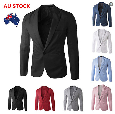 L-6XL Plus Size Mens Korean Blazer Casual Suit Formal Jacket Slim Fit One Button