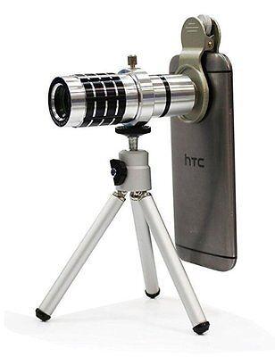 Posma 12X Optical Camera Lens Kit with Cellphone Stand Sliver