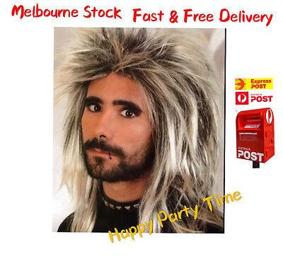 Mens Mullet Spikey Punk Rock 80s Long Wig Party Accessories