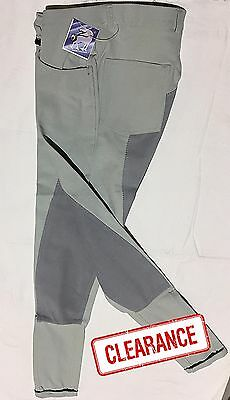 Ladies Stretchy Microfibre Jodhpur Breeches w/ Full Leather Seat Silver / Grey