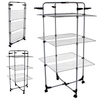 Tower Clothes Airer Indoor Laundry Hanging Clothing Washing Dryer Foldable 25M
