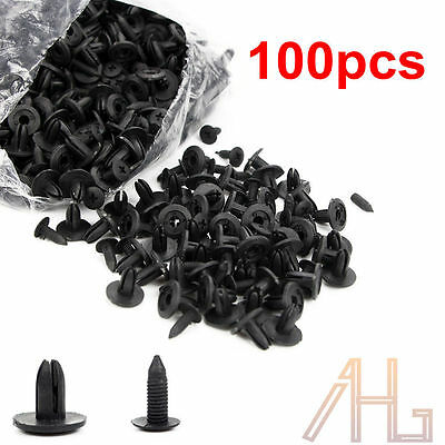 100pcs 6mm Plastic Push Rivets Car Door Fastener Trim Panel Retainer Clip Black
