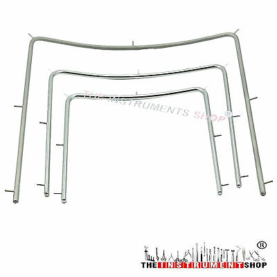 Dental Endodontic Rubber Dam Frame Orthodontic Set of 3 Sizes Stainless Steel