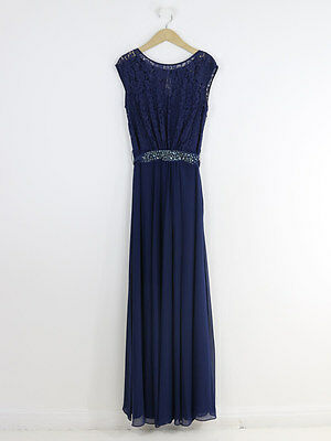 Coast Womens Navy Lace Top Embellished Maxi Dress Size 10