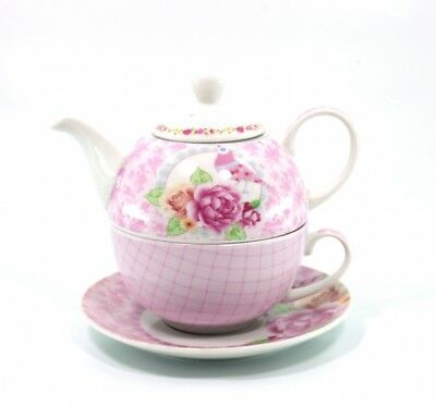 Tea  for one - Dekor Bird Pink Teekanne mit Teetasse