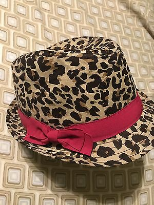 Children's Place Girls 7-8 Med Cheetah Animal Print Hat with Pink Bow Fedora