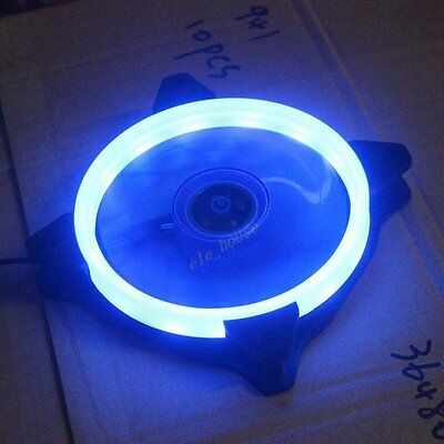 NEW RGB Blue LED Neon Quite Clear 120mm 12cm PC CPU Computer Case Cooling fan
