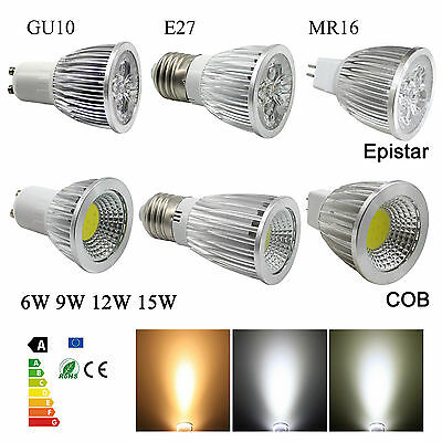 9W 12W 15W GU10 MR16 E27 Spotlight Dimmable LED Light Bulb Epistar/COB Spot Bulb
