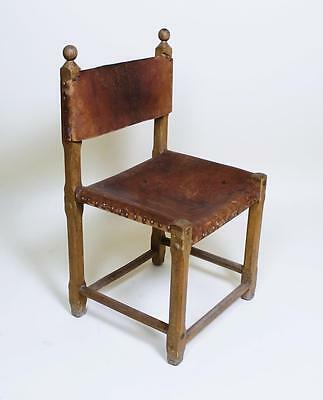 1 Of 48  Vintage Retro 1970' Hungarian Craftsman Oak And Leather Chairs