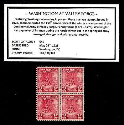 1928 - WASHINGTON AT VALLEY FORGE -  Block of Four Vintage U.S. Postage Stamps