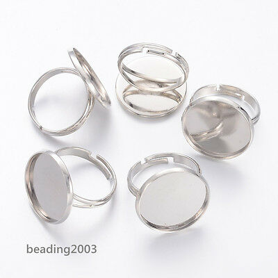 5pcs Brass Adjustable Jewellery Craft Finger Ring Blanks Pads Components 18mm