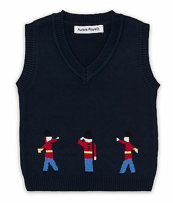 """Aurora Royal Boys Navy Cotton Knitted """"guards"""" Tank Top"""