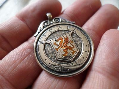 English Antique Vintage Sterling Silver Pocket Watch Chain Fob Medal 1928