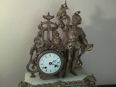 Antique Bronze French Mantel Figural Clock Ca 1780's-1820's