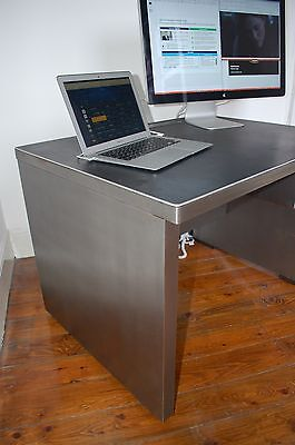 Stunning Vintage Mid Century Stripped Metal Office Tanker Desk