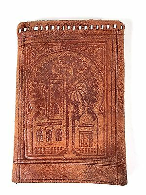 Vtg Brown Leather Bifold Wallet Eastern/African Tooled Design OVERSIZE Travel