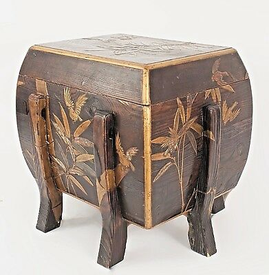 Asian Japanese (19th Cent) Brown Lacquered Floor Trunk (Rice Box)