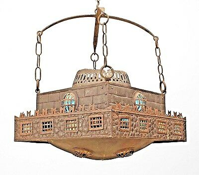 Continental German (1st quarter, 20th Cent) Wrought Iron Square Chandelier