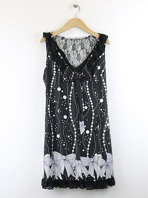 Yumi Womens Black Bow Print Dress Size L (UK 14)