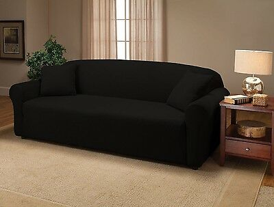 Black Jersey Sofa Stretch Slipcover, Couch Cover, Furniture Sofa Pillow Cover