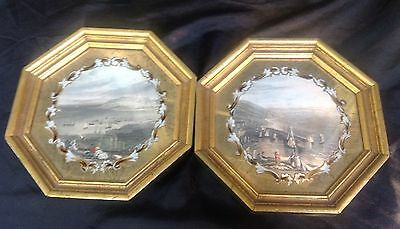 Vintage Colorized Photographs Beach Scene In Gold Octagon Frame