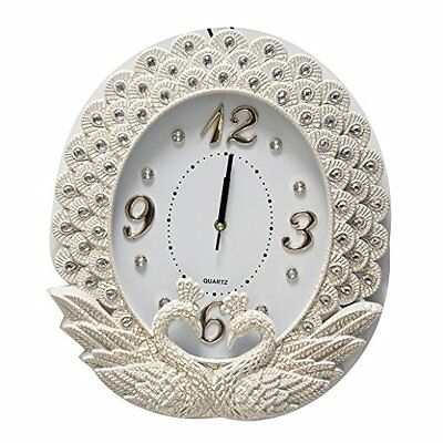 Wall clock with Swans Design in Gold, Red and White (White)
