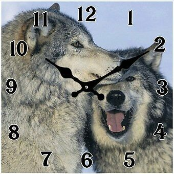 Small Glass Square Twin Wolves Affection Clock, Size: 15 x 15cm, 1xAA Battery