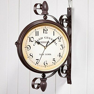 Double Sided Clocks Ailiebhaus Antique European-style Garden Station Clock