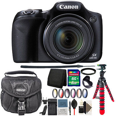 Canon PowerShot SX530 HS 16MP Wi-Fi Digital Camera + Extra Battery Accessory Kit