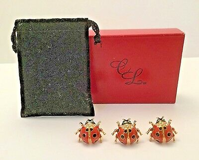 Vintage Ladybug Enamel Pins - Tie Tac - Scarf -  Brooches Set of 3 Clear & Green
