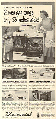 VTG 1950's Universal KITCHEN Gas Range Oven Stove MOTHER Daughter Apron Cook Ad
