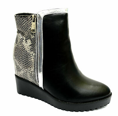 Womens Black Snake Wedge Zip-Up Ankle Rock-Chick Platform Boots Shoes Uk 3-8