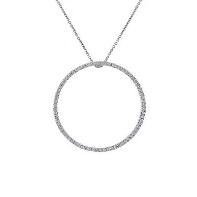 0.75 Carat Round Diamond Circle Of Love Pendant on Cable Link Chain 14K White Go