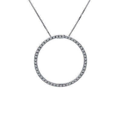 0.45 Carat Round Diamond Circle Of Love Pendant on Cable Link Chain 14K White Go