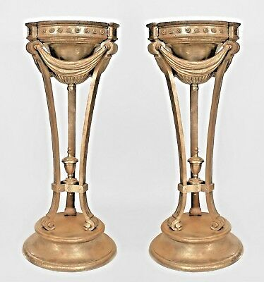 Pair of American Iron Art Deco Pedestal Planters
