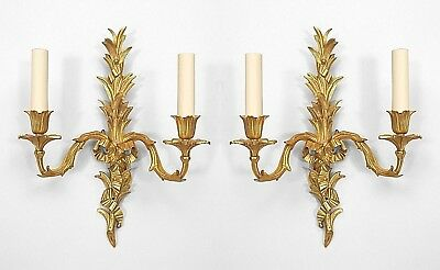 Pair of French Louis XV Style (20th Cent) Gilt Bronze 2 Arm Wall Sconces