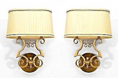Pair of French Art Deco Gilt Metal 2-Arm Wall Sconces
