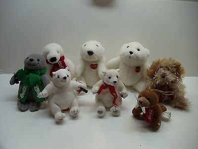 Lot Of 7 Coca Cola Stuffed Animals And 1 ??      0711-5