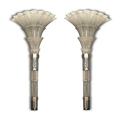 Pair of French Art Deco Monumental Flair Shaped Glass Wall Sconces