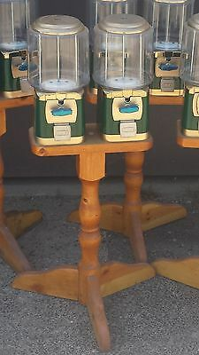 (2) SILENT SALES FORCE Gumball/Bulk Candy Vending Machines with Wooden Stand