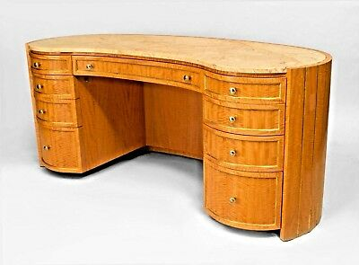 French Louis XVI Style (mid 20th Cent) Sycamore Kneehole Dressing Table