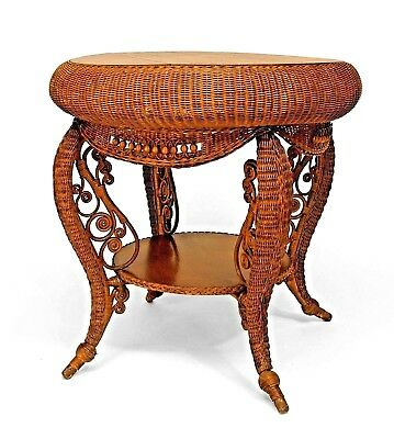 American Victorian Natural Wicker Round Oak Top Table