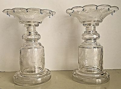 Antique 19th Century? Pair Rose Etched Glass Candle Holders Empire