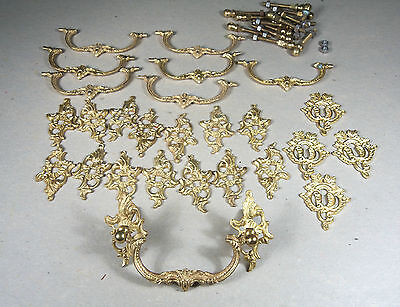 Fire-gilded Ornate Solid Brass Rosette & Bail Drawer Pulls, 8 pulls & 4 escuts
