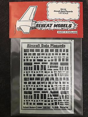 Reheat Models Aircraft Data Placards 1/32 Scale RH132