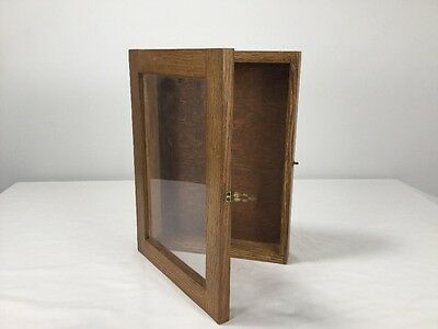 Display Case Oak Hinged Wall Mount Vintage Old Glass
